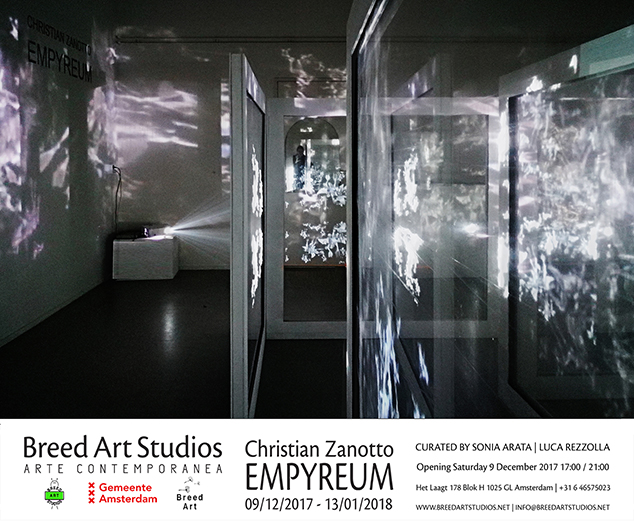 christian zanotto,empyreum,video installation,holographic projection,breed art foundation,breed art studios,amsterdam,sonia arata,luca rezzolla,gemeente amsterdam