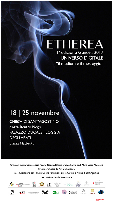 etherea, contemporary multimedia art, exhibition, rassegna, 1st edition, prima edizione, digital universe, universo digitale, the medium is the message, il medium è il messaggio, viana conti, derrick de kerckhove, virginia monteverde, ex chiesa di sant. agostino, museo di sant. agostino, loggia degli abati, abbots loggia, doge's palace, palazzo ducale, former sant. agostino church, sant. agostino museum, genova, italy, christian zanotto, red stamp art gallery, amsterdam, himself-portrait, self-portrait, holographic installation, holografic theca,holotheca,teca olografica,oloteca, moon dollar battle, battle, video installation, video installazione, stereoscopia, stereoscopy, stereo scenes
